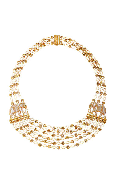 Eleuteri Vintage Cartier 18K Yellow Gold, Diamond and Emerald Necklace