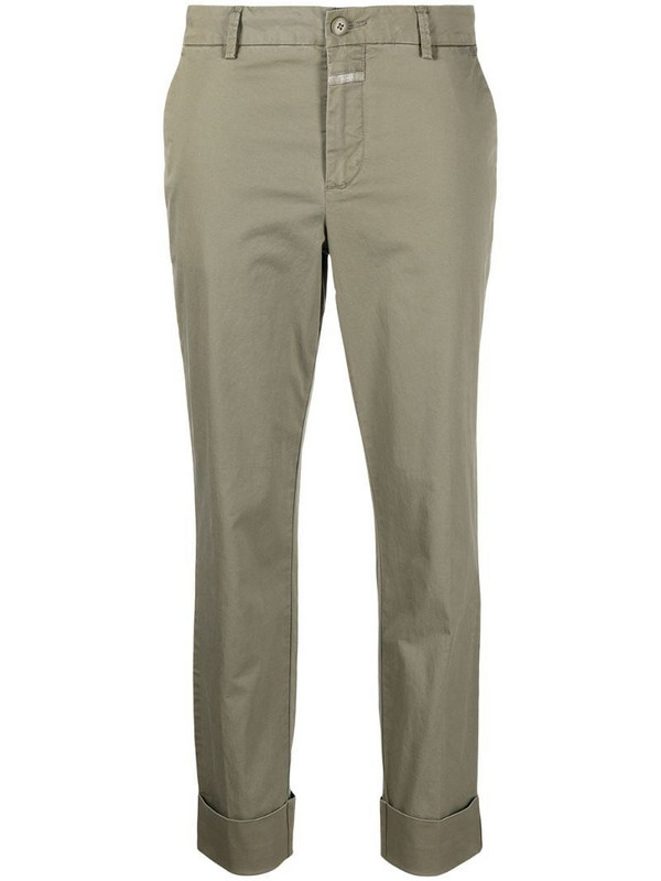 Closed cropped chino trousers in neutrals