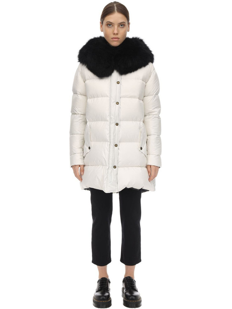 MR & MRS ITALY Extra Light Microfiber A-line Down Coat in black / white