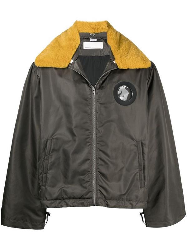 Random Identities contrast collar jacket in green