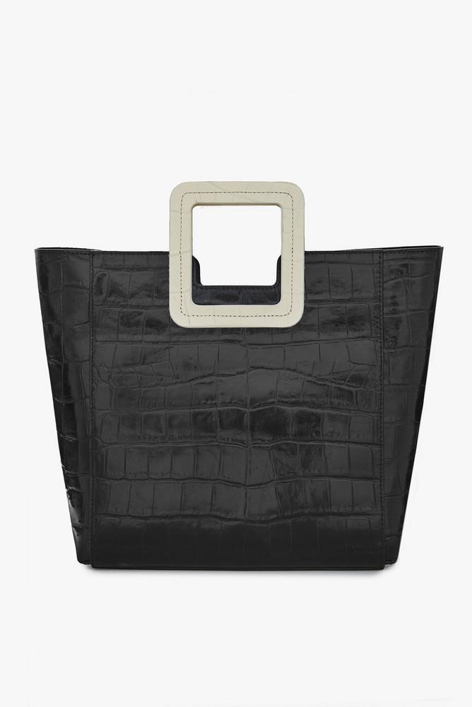 Staud SHIRLEY LEATHER BAG | BLACK AND CREAM CROC EMBOSSED
