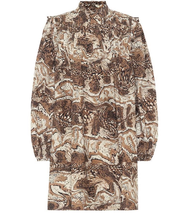 Ganni Printed cotton minidress in brown