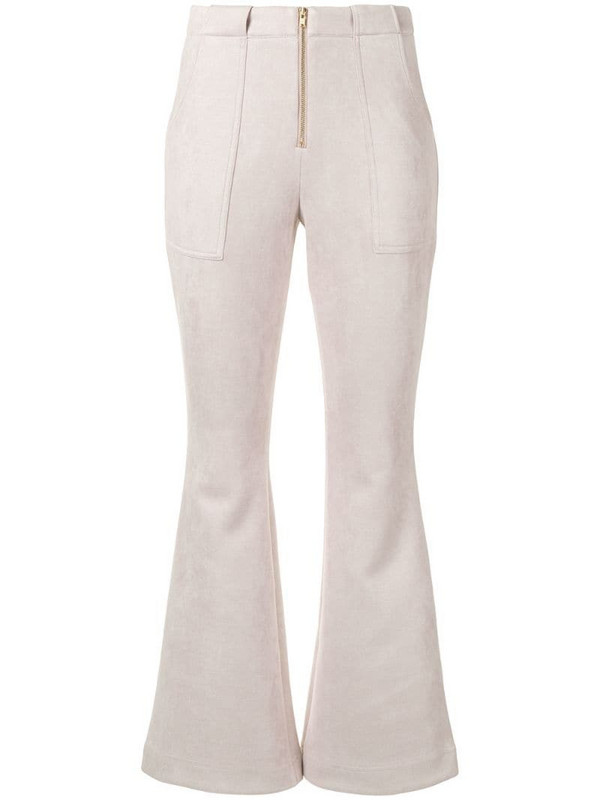 Cynthia Rowley Nadia ankle-crop flared trousers in neutrals