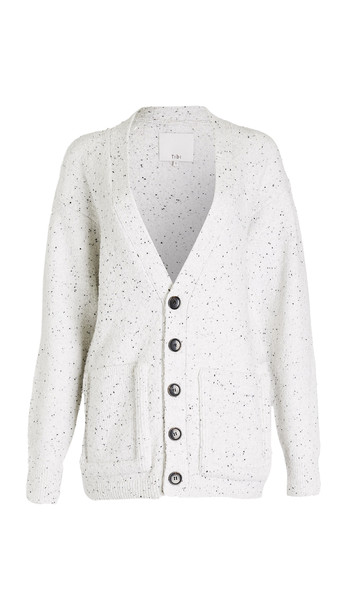 Tibi Oversized Easy Cardigan in white / multi