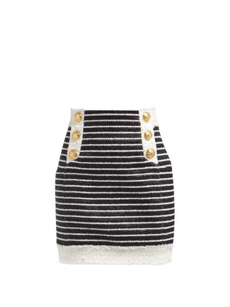 Balmain - Striped Tweed Mini Skirt - Womens - Black White
