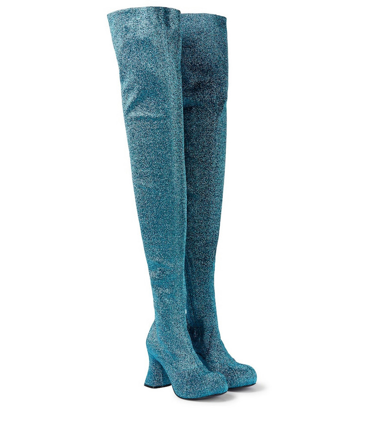 STELLA McCARTNEY Groove Lurex® over-the-knee boots in blue