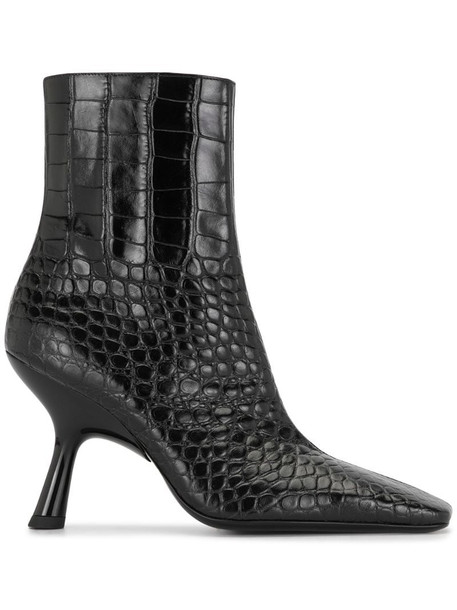 Simon Miller crocodile-effect ankle boots in black