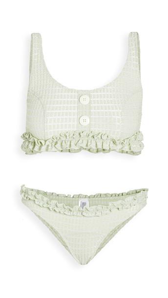 Lisa Marie Fernandez Colby Ruffle Bikini Set in mint / metallic