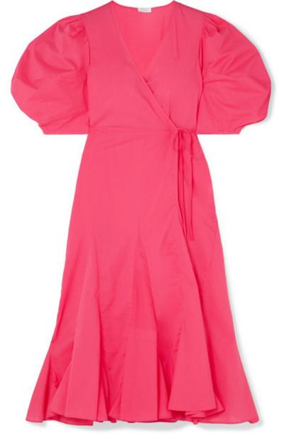 Rhode - Fiona Cotton-poplin Wrap Dress - Fuchsia