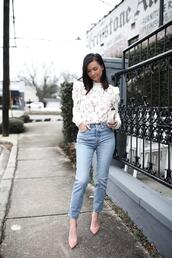 for all things lovely,blogger,top,shoes,bag,jewels,lace top,spring,spring outfits,pumps,white lace top