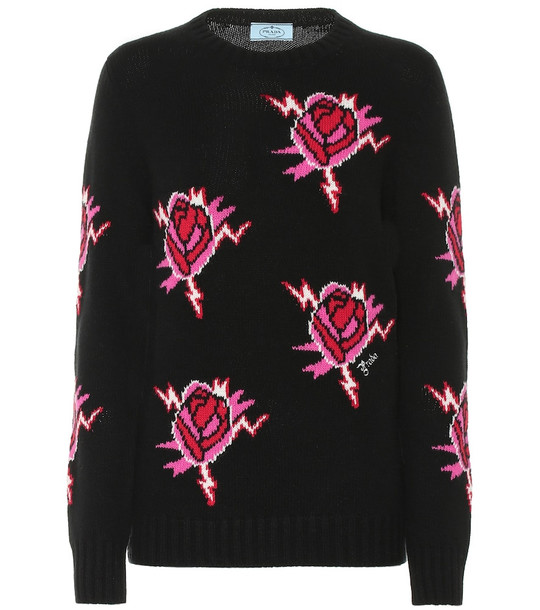 Prada Intarsia wool and cashmere sweater in black