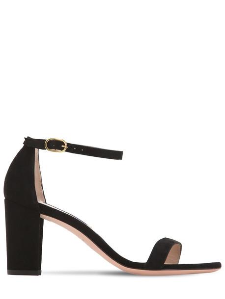 STUART WEITZMAN 80mm Nearly Nude Suede Sandals in black