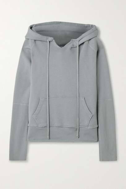 Nili Lotan - Janie Distressed Cotton-jersey Hoodie - Gray