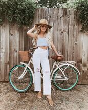 jeans,cropped jeans,white jeans,high waisted jeans,crop tops,hat