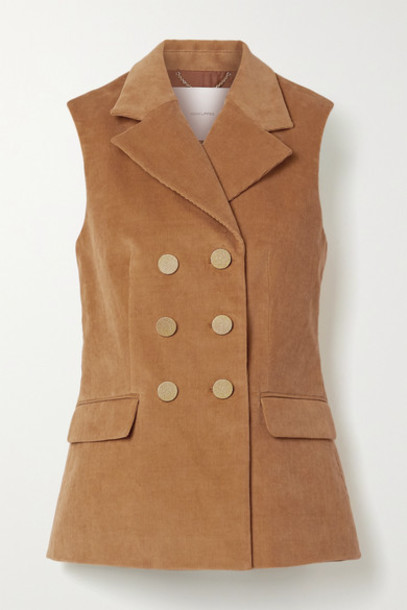 Adam Lippes - Double-breasted Stretch-cotton Corduroy Vest - Light brown