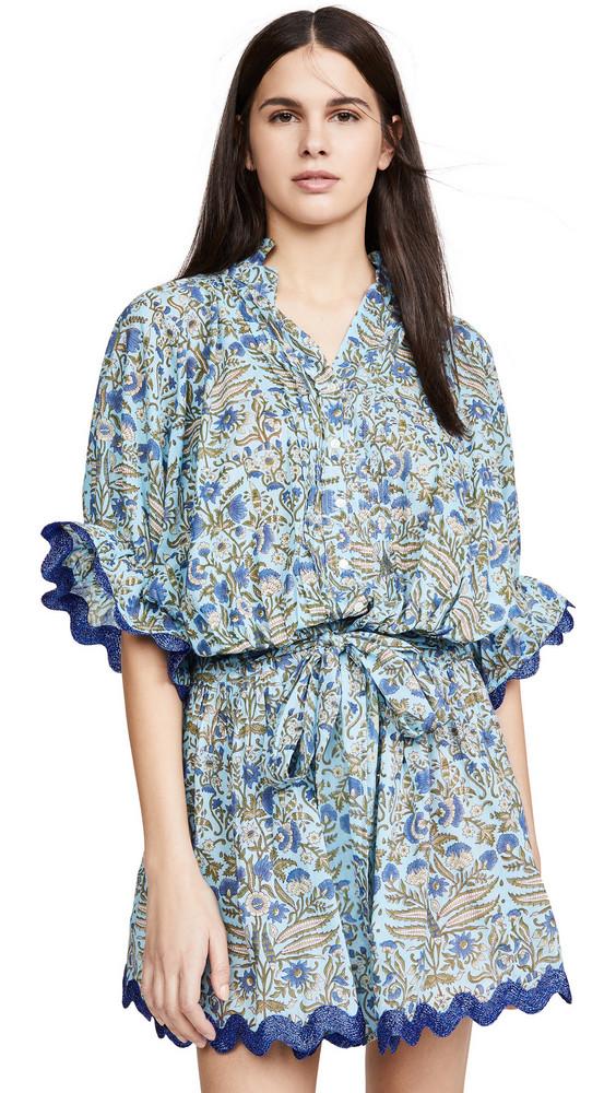 Juliet Dunn Temple Flower Blouson Dress in blue