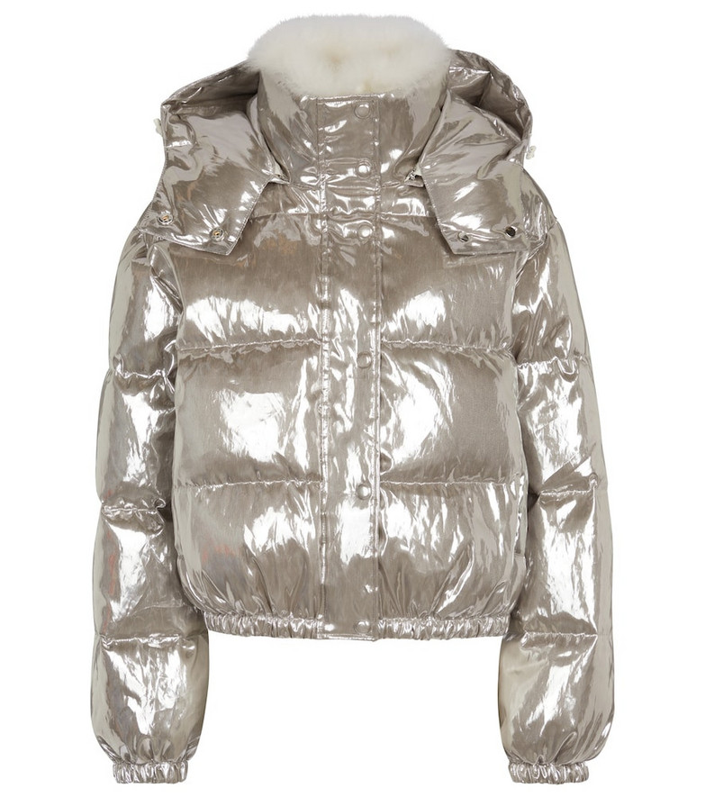 Yves Salomon Shearling-trimmed down jacket in silver