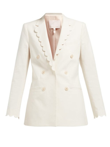 blazer double breasted scalloped cotton jacket
