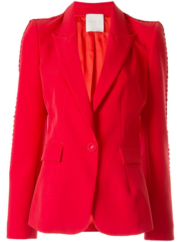 Ingie Paris single-breasted fitted blazer in red