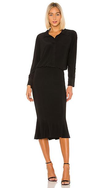Norma Kamali Boyfriend Shirt Fishtail Dress in Black