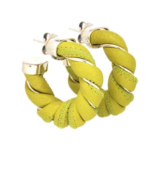Bottega Veneta Leather and sterling silver earrings in green