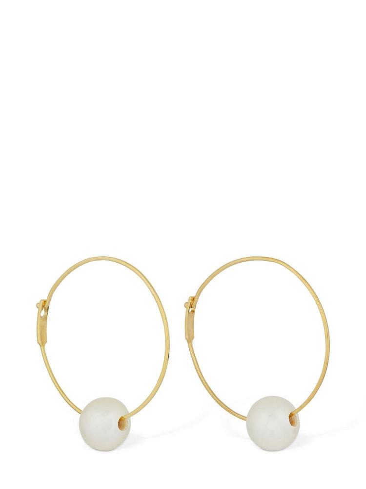 JIL SANDER Stem Hoop Earrings W/ Pearl in gold / white