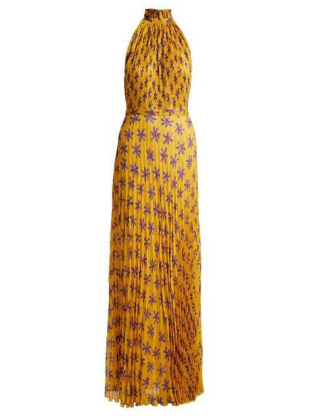 Raquel Diniz - Giovanna Floral Print Silk Gown - Womens - Yellow Print