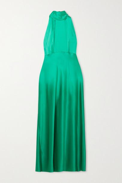 Saloni - Michelle Silk-satin Halterneck Midi Dress - Green