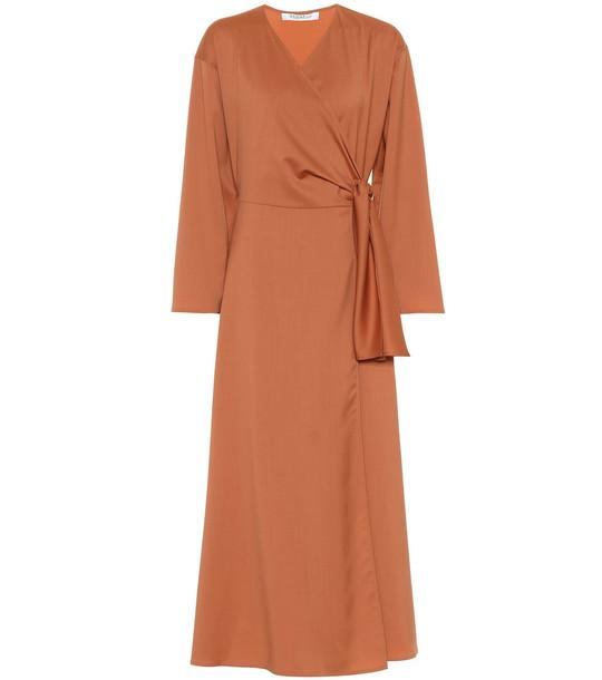 Max Mara Ladino virgin wool midi wrap dress in brown