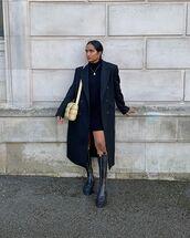 coat,black coat,black boots,knee high boots,black dress,turtleneck sweater,mini dress,bag