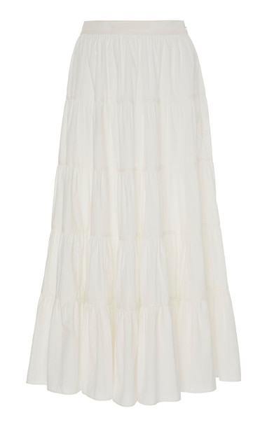 Ulla Johnson Sylvie Cotton Crisp Midi Skirt Size: 0 in white