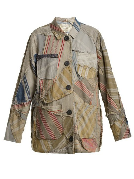 By Walid - Linda 19th Century Patchwork Linen Jacket - Womens - Blue Multi