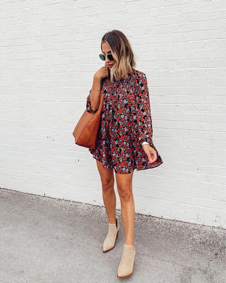 dress mini dress floral dress long sleeve dress ankle boots brown bag
