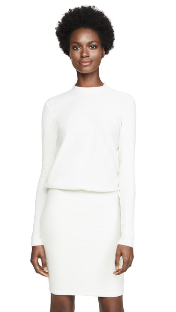 James Perse Rib Sleeve Blouson Dress in stone