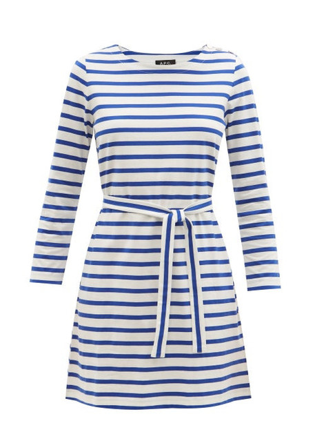 A.P.C. A.P.C. - Florence Striped Cotton-jersey Dress - Womens - Blue White