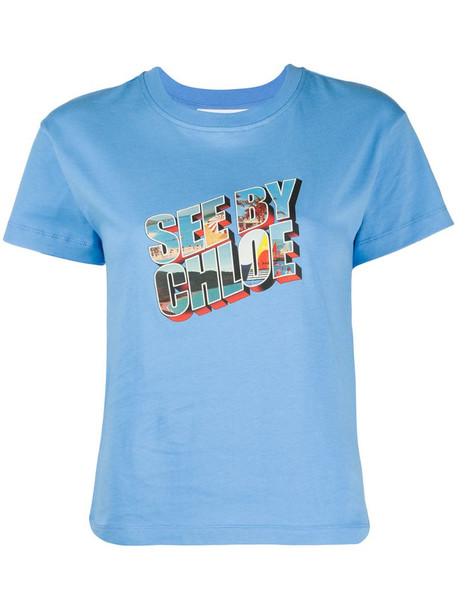 See by Chloé graphic logo print T-shirt in blue