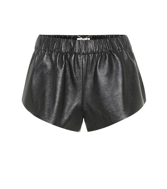 Saint Laurent Leather shorts in black