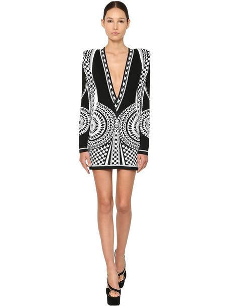 BALMAIN Knit Jacquard Mini Dress in black / white