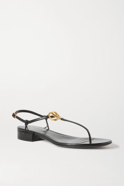 Valentino - Valentino Garavani Go Logo Embellished Leather Sandals - Black