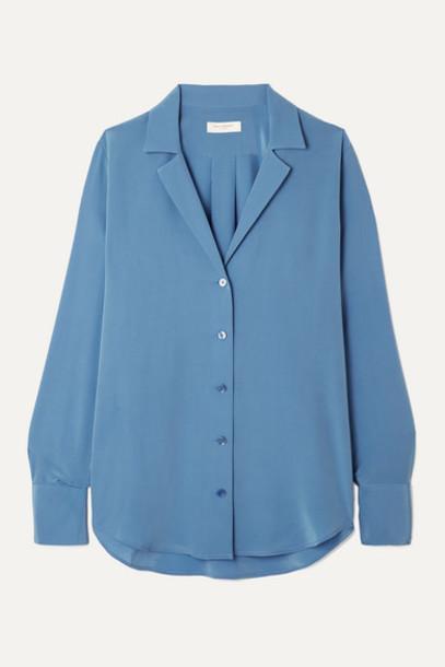 Equipment - Oriana Silk Crepe De Chine Shirt - Blue