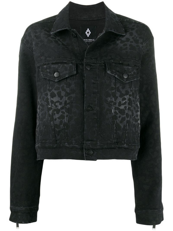 Marcelo Burlon County of Milan rinse wash leopard print denim jacket in black