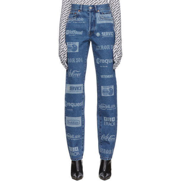 VETEMENTS Blue Fully Branded Jeans