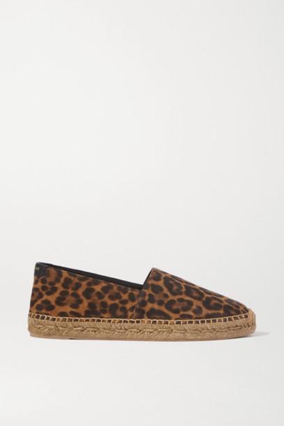SAINT LAURENT - Leopard-print Suede Espadrilles - Leopard print