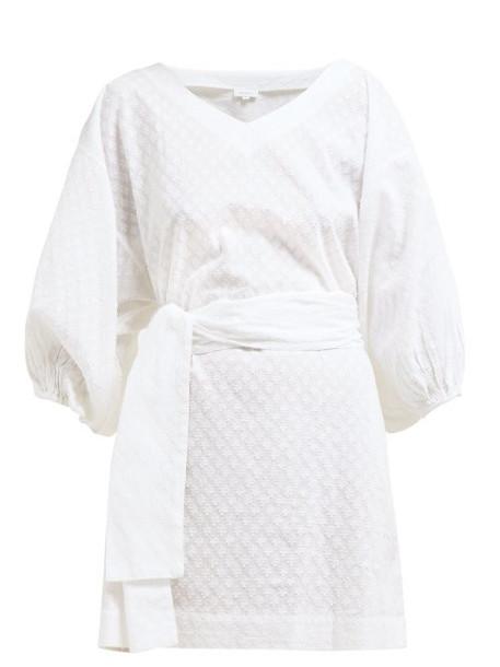 Rhode Resort - Arya Fil Coupé Cotton Mini Dress - Womens - White