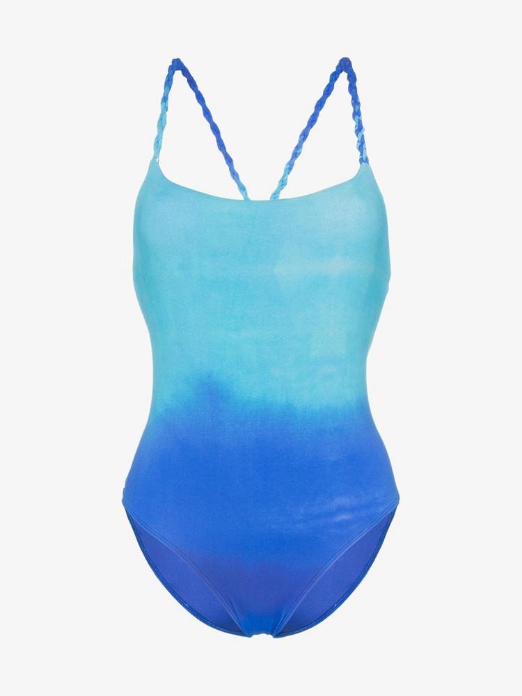 Paper London ombré cross over strap swimsuit in blue