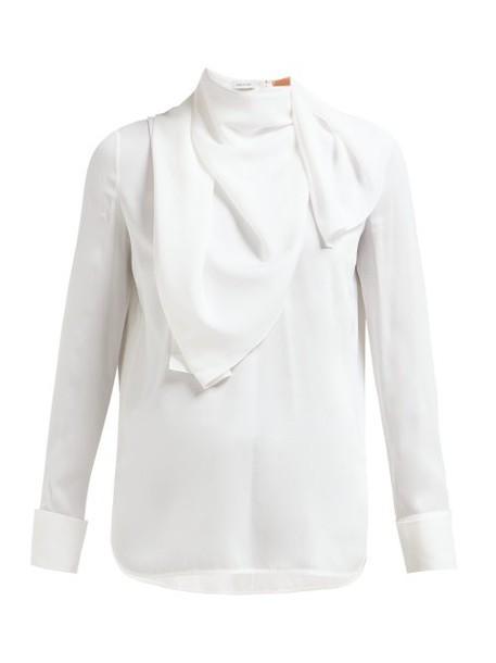 Summa - Detachable Scarf Silk Crepe Blouse - Womens - White