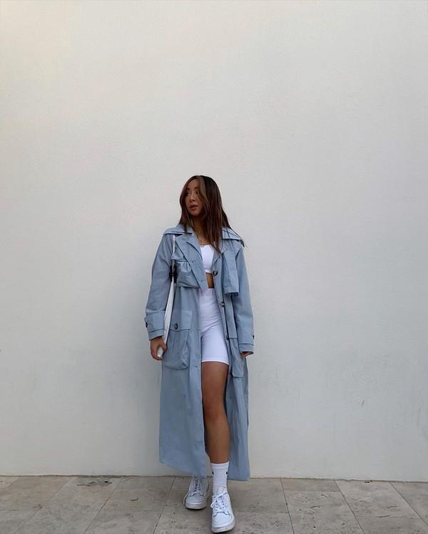 coat trench coat long coat white sneakers sneakers white shorts leggings crop tops bag