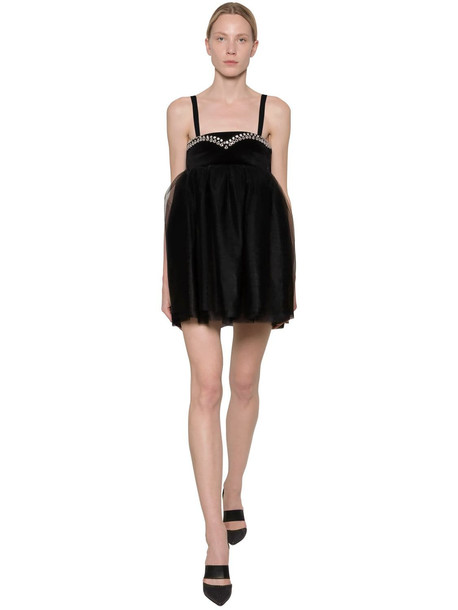BROGNANO Embellished & Layered Tulle Mini Dress in black