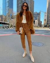 pants,high waisted pants,suede,ankle boots,brown bag,faux fur coat,white top