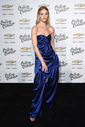 top,bustier,bustier dress,strapless,rosie huntington-whiteley,model off-duty,pants,satin